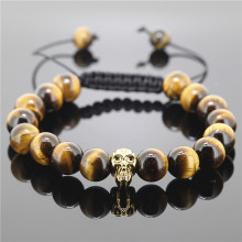1PC Hot Fashion Shamballa Jewelry Handmade Rope High Quality Tiger Eye Stone Beaded Skull Heads Bracelet For Men And Women