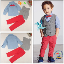 Handsome children's clothing sets gentleman Boy's 4pcs suit set Kids clothes set long-sleeve shirts+vest+Trousers+bow tie