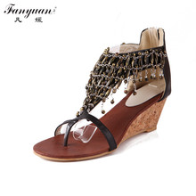 2017 New Summer Women Vintage Sandals Ankle-wrap National Style Women T-Strap Pumps Sandal Shining Crystal Lady's Sexy Shoes