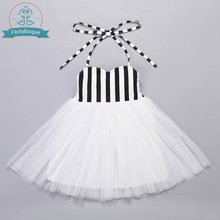 Baby to Big Girl Dress White Tulle with Stripe Top Special Occasion Wedding Party Princess Dresses Children Clothing Size 1-8(China)
