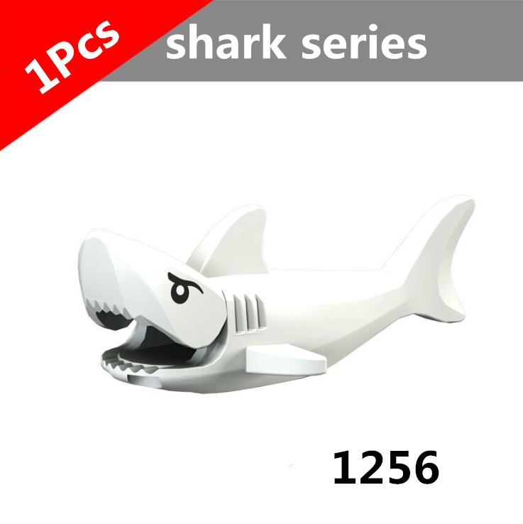 1Pcs Shark Blocks Shark Figure Creative Animal Building Blocks Compatible Duploed Shark Toy Plastic Toys for Children (2)
