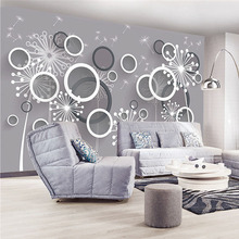 Custom 3D DIY Fabric & Textile Wallcoverings For Walls Matt Silk For Living Room Washable Wallpaper Flower Circle Dandelion Good(China)