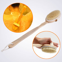 Natural Bristle Body Brush for Back Long Wood Spa Bath Scrubber Massager Shower Remove the body Dead Skin Wood Brush