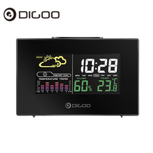 Digoo DG-C3 Wireless Color Backlit USB Hygrometer Thermometer Weather Forecast Station Alarm Clock Black(China)