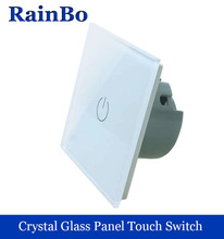 New Crystal Glass Panel Switch Wall Switch EU Touch Switch Screen Wall Light Switch 1gang 1way 110~250V  for LED lamp rainbo