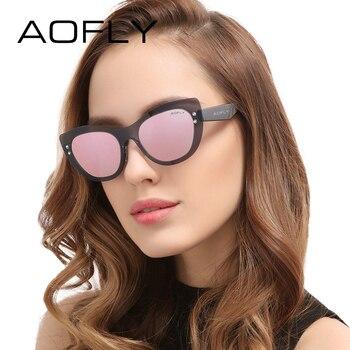 Aofly moda cat eye sunglasses mulheres marca original new design armações lentes de sol do vintage feminino óculos eyewears uv400 af6022