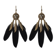 USA Brand Flower Pendant Bronze Coffee/Black Feather Earrings Boho Earrings Ethnic Jewelry For Women Earrings HQE320(China)