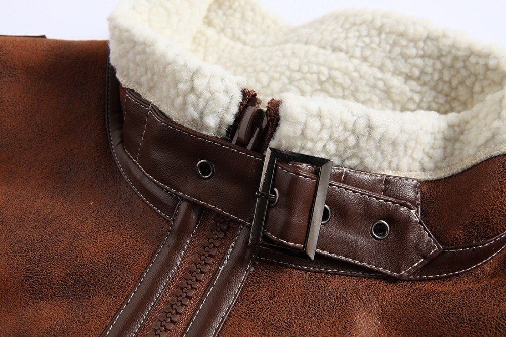 Men Winter Cashmere Faux Leather Coat Jacket Lamb Wool Lined Leon Costume Outerwear Coat Resident Evil 4 Zipper Leather Jacket 2