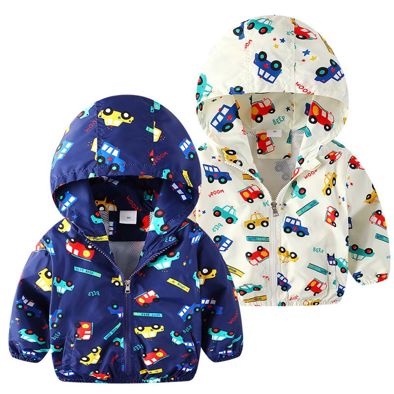 COOTELILI 80-130cm Cute Car Printing Kids Boys Jacket 2018 Spring Hooded Children Clothes Active Girls Windbreakers  (9)