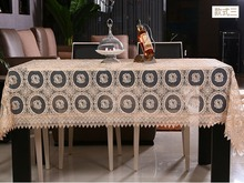 New Arrival Beige Glass Yarn Hollow Emfbroidered Soluble Lace European Style Table Cltoh Banquet Decorative Table Cloth 3 color(China)