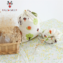 Raged Sheep Fashion Drawstring Cotton Grocery Shopping Bags Folding Forest Printed Shopping Cart Eco Grab Reusable Bag(China)