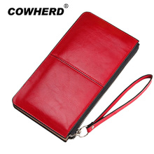 Women famous brand Oil wax leather zipper clutch wallet female candy color burglar robbed purse lady Multi-function phone bag(China)