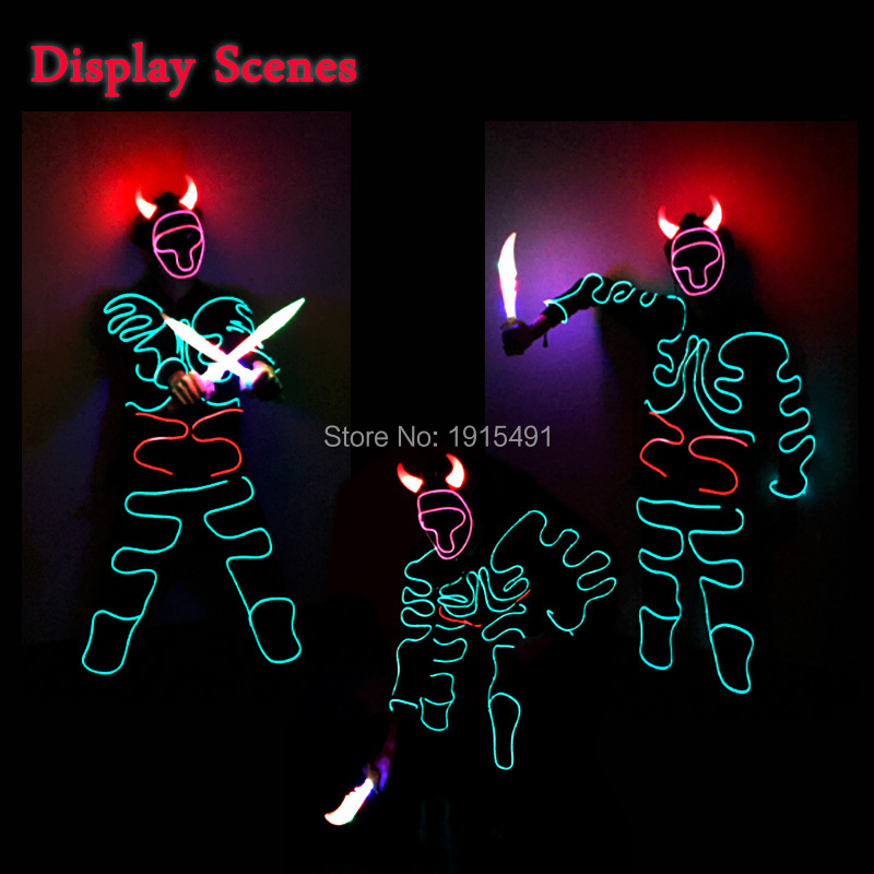 Personalized Crazy Wedding Gift Neon Led Bulb Flickering Bull Demon King Design Costume EL Cold Light Scintillation Cosplay Suit<br>