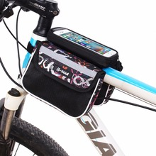 B-SOUL Bicycle Touch Screen Phone Bag MTB Bike Front Frame Bag Cycling Top Tube Bag Panniers Double Pouch For 5.5inch phone(China)