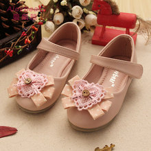 New Arrival Sweetie Princess Shoes For Kid Girl Footwear Wholesale 5Pair/lot Lace Bowknot 100% Leather Children shoes Size 24-34