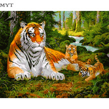 Tiger oil painting by numbers on the wall handmade DIY painting by number of scenery pictures oil painting no frames cheap