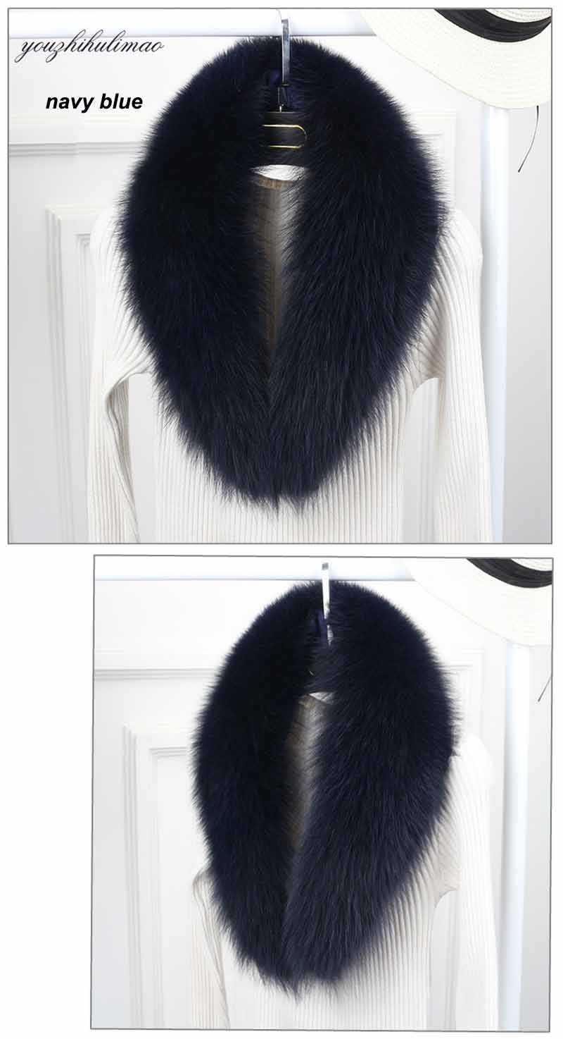 fox fur collar navy blue