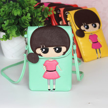 2015 New Pill Head Dress Mm Pu Messenger Bag Children Mobile Phone Cartoon Double Oblique  Update Quantity