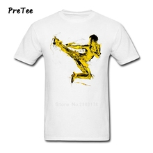 Be Like Water Kungfu Man T Shirt Pure Cotton Short Sleeve Round Neck Tshirt Boy Tee Shirt 2017 Modern T-shirt For Teens