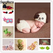 2017 New Soft Newborn Girl Boy Baby Photography Props Newborn Baby Cap Baby Hats Crochet Baby Clothes Infant Baby Knitted Photo