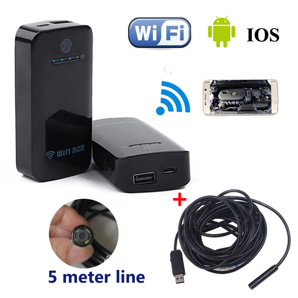 Free shipping!10mm 5M Waterproof WiFi Inspection Camera Borescope Endoscope Scope For IOS And Android<br>