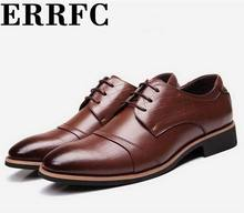 ERRFC New Brown Pointed Toe Dress Shoes Men Lace Up Crocodile Pattern Office Career Shoes Man Black Leather Shoes Size 38-44