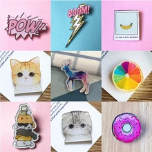 Kawaii Harajuku Icon Cute Cat Badge Acrylic Brooch For Children Clothes Badge Decorative Rozet Collar Scarf Lapel Pin Broach