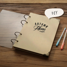 21*29CM Vertical 4 Holes Wire Binding Sticky Type 9 Sheets 18 P Kraft Paper Cover Black Card Inside Pages Retro DIY Menu(China)