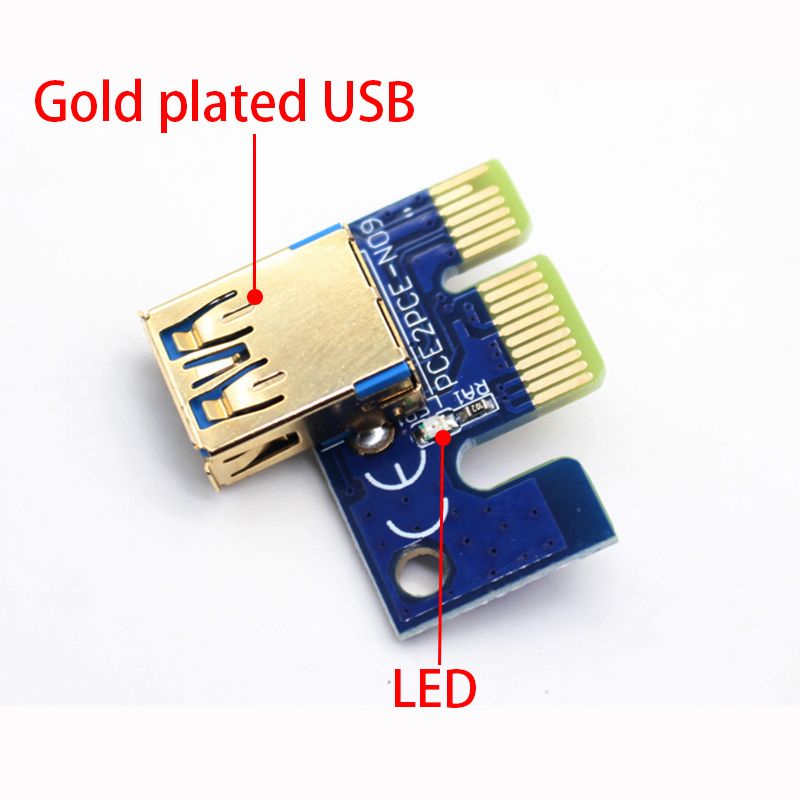 009S PCIE RISER 6PIN 16X for BTC mining with LED USB Gold Port-6 (7)