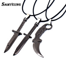 CSGO Leather Chain Necklace for Male Karambit M9 Best Friends CS GO Necklace Titanium Bayonet Dagger Claw Man Jewelry 6.5CM