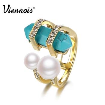 Viennois nueva bohemia joyería de moda plateó los anillos para las mujeres de la vendimia doble simulado perlas y turquesa anillo de dedo hembra