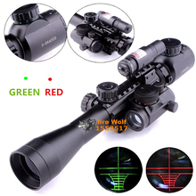 Optics Rifle 3-9X40 Illuminated Hunting Red/Green Laser Riflescope with Holographic Dot Sight Combo Airsoft Gun Weapon Sight