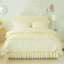 Solid color lace girls duvet cover set bed skirt pink red Bedding set king queen size 4/6pcs bed cover set/bedclothes pillowcase