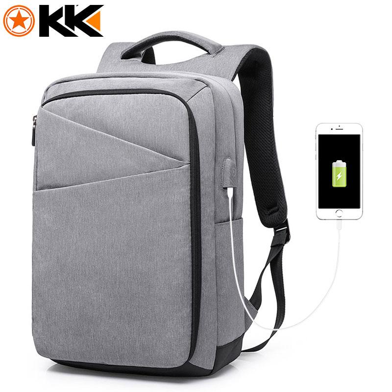 KAKA New High Capacity USB Charging Men Backpack 17.3 inches Laptop Backpack Fashion Male College Mochila Oxford Black Schoolbag<br>