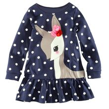 Toddler Baby Girls Kids Autumn Clothes Long Sleeve Party Deer Tops T Shirt Dress Polka Dot Long Sleeve Mini Dresses 2-7(China)