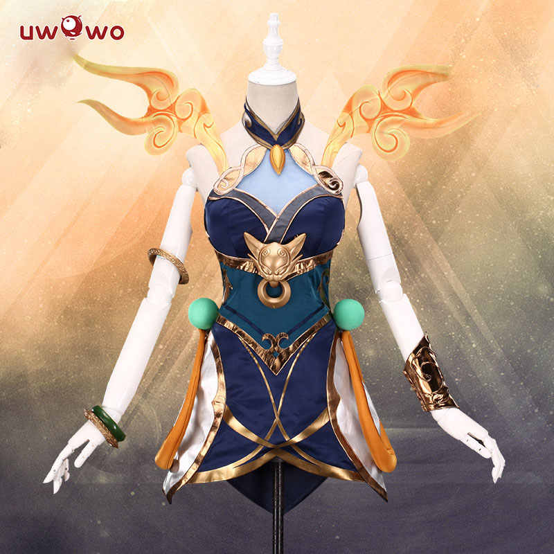 В наличии, UWOWO Game League of Legends LUNAR EMPRESS LUX LOL Luxanna Crownguard, костюм светящейся женщины