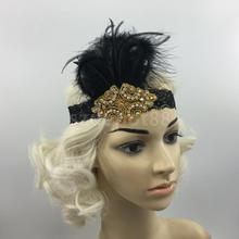 Vintage Feather 1920s Great Gatsby Flapper Crystal Diamante Headband Black