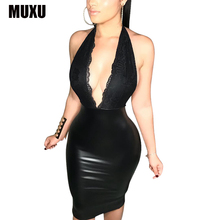 Buy latex sexy summer ropa mujer black dress leather dresses bodycon jurken backless dress womens clothing bodycon vestidos women