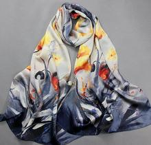 [SLKSCF] 180X50CM Digital floral silk scarves facecloth new arrival hand rolled hem real silk sunscreen 100% silk hijabs capes