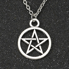 Supernatural Necklace Devil's Trap Pentagram Pentacle Vintage Retro Antique Silver Pendant Movie Jewelry Wholesale