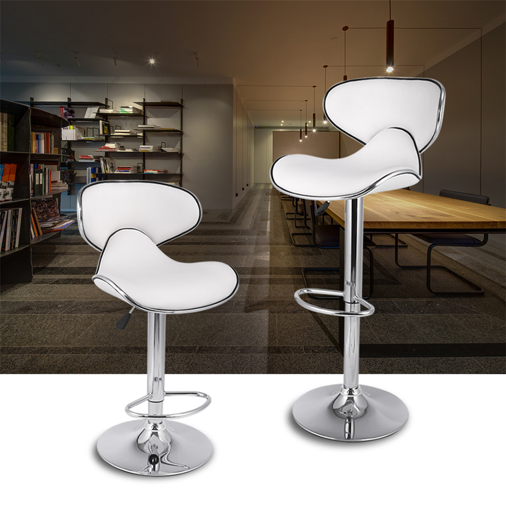LANGRIA Set of 2 Gas Lift Height Adjustable Swivel Faux Leather Wrap-Around Bar Stools Chairs with Chromed Base and Footrest 07