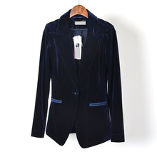 ladies royal blue casual jacket ladies women velvet women and jackets 2016 plus size blue winter fashion