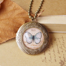 Flyleaf Handmade butterflies birds Eiffel Tower long necklace retro bronze photo frame Necklaces & Pendants vintage jewelry(China)