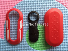 New colorful remote key case with stripe for Fiat 500 Panda Punto Bravo key cover with 3 Button remote Rubber Pad