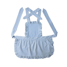 100% Pure Cotton White Kids Apron Short Style Japanese Style White Ruffled Baby Avental de Cozinha Divertido Pinafore Apron(China)