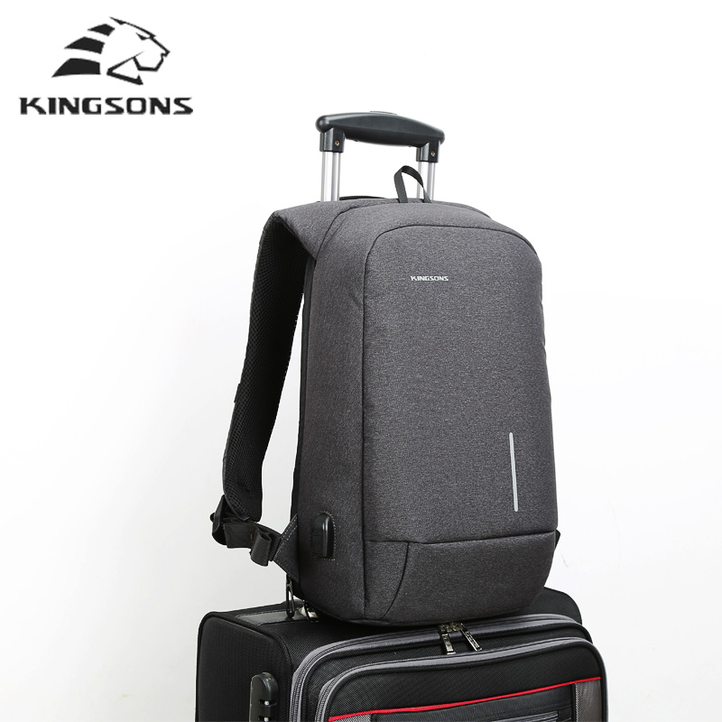 kingsons laptop backpack mens travel bags 13.3 15.6Inch School Bag Anti theft backpack men usb mochila leisure travel backpack <br>