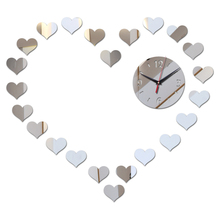 new sale romantic love Acrylic wall clock mirror sticker modern design luxury crystal 3d clock living room free shipping