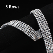 5 Rows SS8 Diamond Hotfix Rhinestone Mesh Banding Chain with  silver Aluminum base crystal  trim mesh 1.2m for garment
