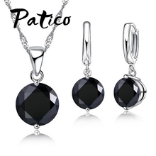 Buy PATICO 925 Sterling Silver 2 Claw CZ Crystal Romantic Jewelry Sets Women Wedding Necklace Dangle Earrings Set 8 Color for $1.23 in AliExpress store