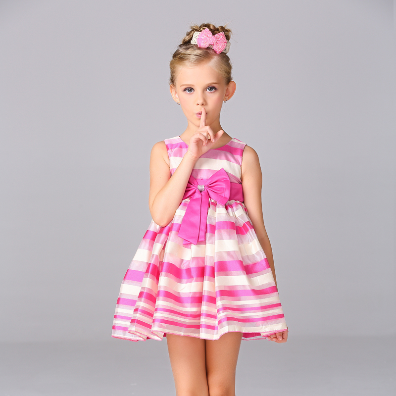 Retail two color kid girl sleeveless striped dress with bow girl ball gown party dress for 3-8 year age  L1521<br><br>Aliexpress